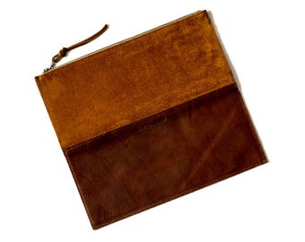 FOLDOVER CLUTCH Rust Brown • Leather Clutch Bag