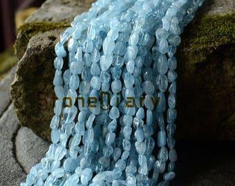 Summer Sale Aquamarine Nugget Beads,Blue Beads Natural Gemstone Aquamarine Chips Irregular Smooth Beads Approx 6x10mm