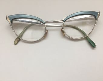 Vintage S/C or Shuron Continental Blue and Silver Cat Eye Glasses***SALE****