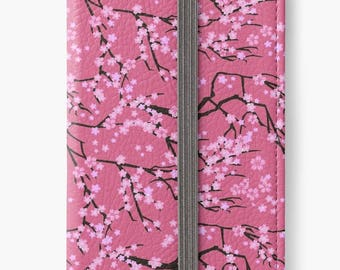 Folio Wallet Case for iPhone 8 Plus, iPhone 8, iPhone 7, iPhone 6 Plus, iPhone SE, iPhone 6, iPhone 5s - Pink Cherry Blossom Design