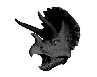 Black Triceratops Dinosaur Head Wall Mount - Jurassic Wall Art by Wall Charmers Faux Taxidermy - Jurassic Park Fauxidermy Boys Room Decor