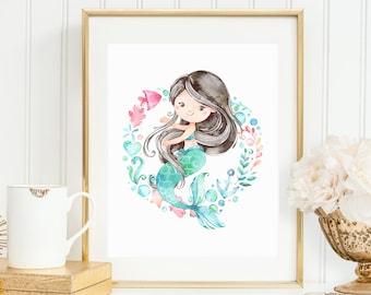 Mermaid Printable Wall Art, 8x10 Art Print, Birthday Party Decor, Mermaid Nursery Art, Pink and Blue Watercolor Mermaid, Under the Sea MER1