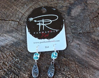 Turquoise Crystal Swarovski Earrings by Panhandle Red
