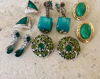 Vintage Gorgeous Shades of Green Clip Back and Screwback And Post Back Earrings.