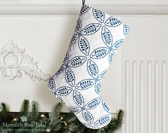 Blue Christmas Stocking, Blue Stocking, Blue and White Christmas Stocking, Blue and White Christmas, Quilted Christmas Stocking