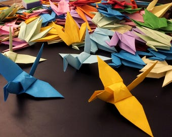 Origami Birds 15cm X 10 Rainbow Mix - Origami Birds - Folded Paper Birds - Wedding Decoration - Baby Shower Paper Decorations Origami Paper