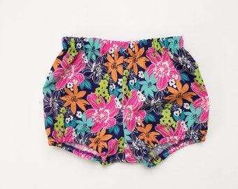 tropical floral bloomer shorts - organic clothing kids babies toddler girls