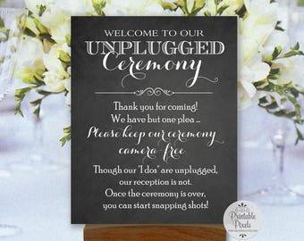 Unplugged Ceremony Printable Wedding Sign, Chalkboard Style, Instant Download (#UN12C)