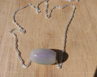 Jadeite lavender and imperial green bead pendant Natural grade A 925 Sterling silver 16 inch chain