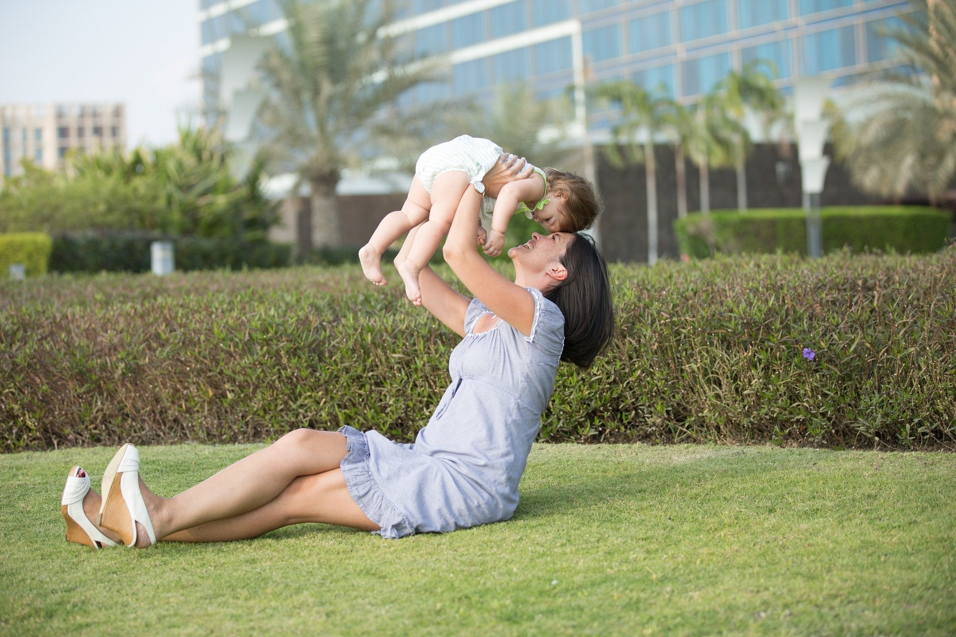 Outdoor play, mom, child