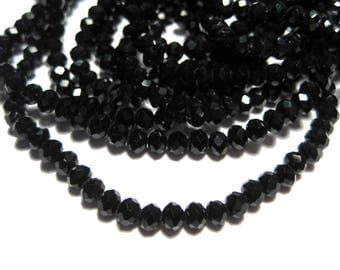 1 Strand Black Faceted Rondelle Glass Beads 4x3mm ( No.17A)