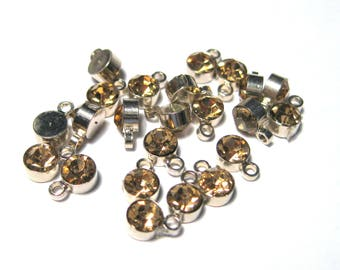 10pcs Silver Tone Small Light Amber Rhinestone Charm Pendant 6mmx4mm