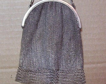 Antique Victorian Sterling Silver Mesh Purse Circa 1900 Central Europe Marked  930S