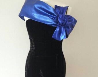 Vintage Suede Blue Bow Dress Size 8-10