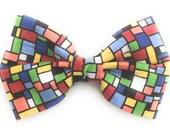 Men's Multicolored Bow Tie in Mondrian Print
