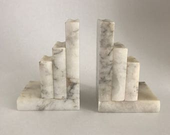 Vintage Italian White Marble Bookends A Pair