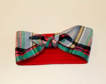 Plaid Flannel Head Wrap Women's 1940's style vintage inspired retro head scarf rockabilly Flannel