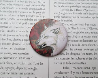 werewolf red pin brooch badge
