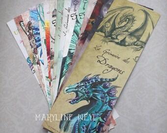 Set of 15 bookmarks (Phoenix, cat, Unicorn, dragon, Werewolf)