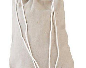 """Natural cotton drawstring bag. 15"""" x 11"""". Natural Canvas Bag Drawstring Backpack."""