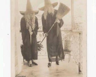 Vintage Antique B&W 1900s Snapshot Halloween Witches Creepy Covered Faces