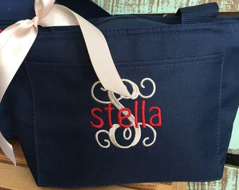 monogrammed lunch box, personalized lunch box, lunch tote