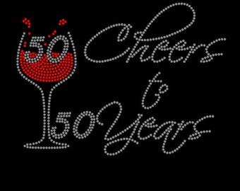 50 Cheers to 50 years Rhinestone Tshirt