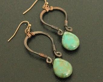 Handmade Teardrop Earrings, Czech Glass Earrings, Bohemian, Wire Wrapped, Rustic Hoops, Hoop Earrings, Lightweight, Turquoise Teardrops