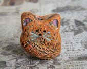 Rustic Scruffy Marmalade Cat Folk Art Bead, Large Focal Beads, Polymer Clay, Folk Art Cat Bead