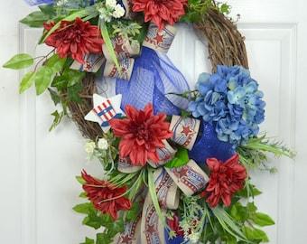 4th of July Front Door Wreath - Patriotic Wreath - American Flag Wreath - Memorial Day Door Wreath - American Wreath - Patriotic Door Wreath