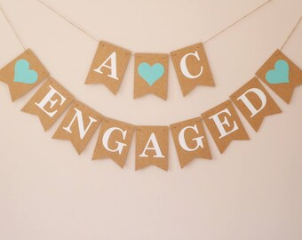 Initials engaged bunting, engagement party decor, engagement photo props, aqua mint