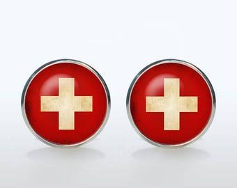 Swiss flag cufflinks Swiss flag Cuff links personalized gift for man gift for boyfriend Christmas gift wedding cufflinks groom gift idea