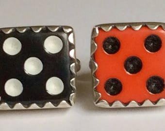 Sterling Silver Dice Casino Gambling Cufflinks