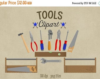 80% OFF SALE Tools Clipart, Commercial Use Graphics, 300 dpi png, screwdriver, hammer, pliers, toolbox, saw, wrench