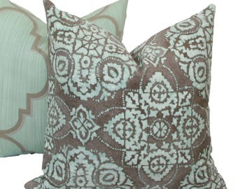 "Blue & gray Batik decorative throw pillow cover. 18"" x 18"" pillow cover."