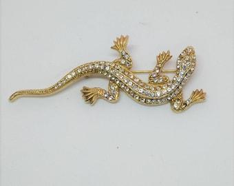 Faux Diamond And Gold Toned Lizard Pin