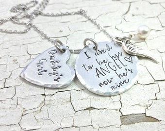 I used to be his Angel, now he's mine,  Daddy's Girl Necklace, Remembrance Necklace, Loss, memory necklace, dad memory, loss, in memory of