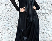 SALE 20% OFF Black Latex Jumpsuit / Black Plus Size Jumpsuit / Loose Funky Jumpsuit TJ28 / Urban Muse