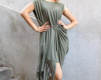 SALE 30% OFF Fringe Dress, Asymmetrical Khaki Dress with Fringes, Fringe Maxi Dress TDK128, Boho Summer Dress by Teyxo