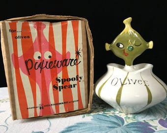 Holt Howard 1958 Pixieware Olive Jar Excellent Condition with Original Box and Sticker