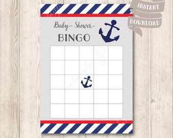 Nautical Baby Shower Bingo Game Card, It's A Boy, Navy Blue, Baby Shower Party Games Printable, INSTANT DOWNLOAD