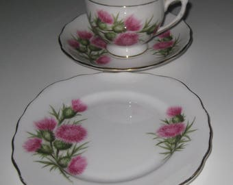 ENGLISH COLCLOUGH THISTLE Pattern Cup, Saucer and Plate. Bone China