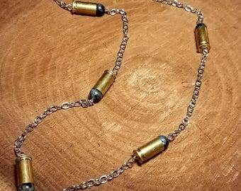 Bullet Jewelry -.32 Bullet Casing Necklace - Labradorite .32 Bullet Casing Necklace - .32 Bullet Casing Jewelry with Labradorite