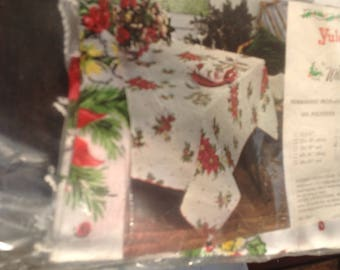 "Vintage 68"" round Poinsettia christmas tablecloth with finge never used"