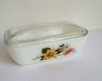 Vintage JAJ Butter Dish, Milk glass Butter Dish