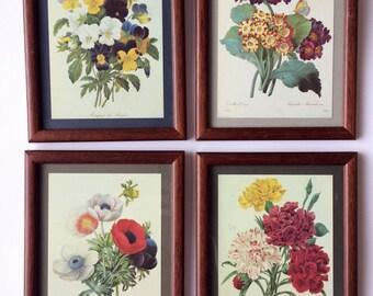 Set of 4 Vintage Pictures, Framed Vintage Floral Prints, Wooden Frames