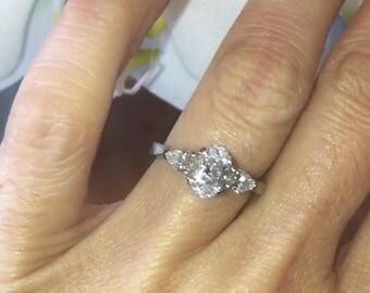 Oval Diamond Engagement Ring 1.05tw EFSI1 Natural Diamonds .50ct pear shape diamonds Platinum 3 Stone Anniversary Pristine Custom Rings
