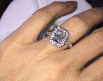 Harro Gem Moissanite Ring 2.40ct Long Cushion Cut Crushed Ice Moissanite Ring 1.20ct Moissanite Accents White gold Pristine Custom Rings