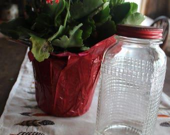 Vintage Glass Jar with red lid