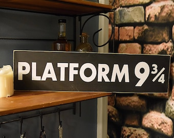 "Platform 9 3/4  22"" x 5.5""  Wooden Sign Wood Plaque Harry Potter"